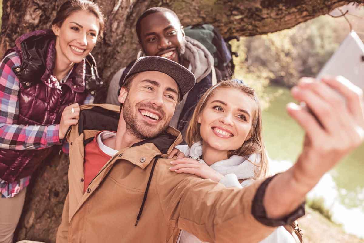 selfie tijdens wandelvakantie voor singles